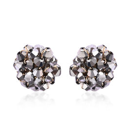 Simulated Grey Spinel Clsuter Stud Earrings (with Push Back) in Gold Tone