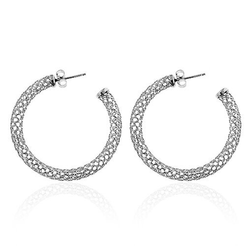 Rhodium Plated Sterling Silver Earrings (with Push Back), Silver wt 4.00 Gms.
