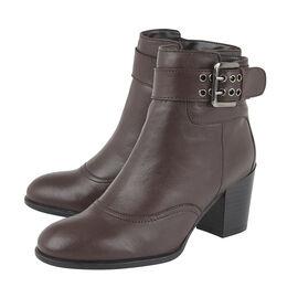 Lotus Bordo Leather Lark Heeled Ankle Boots