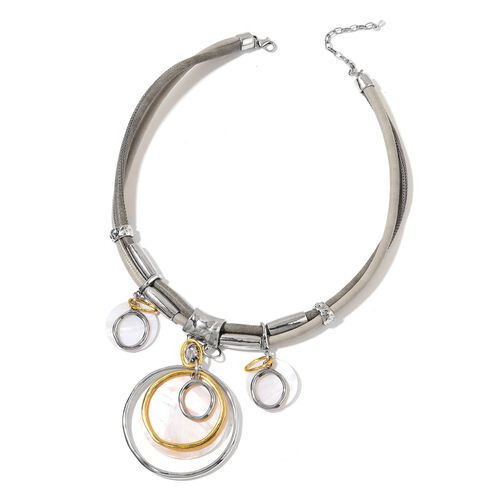 Peach Shell and White Shell Concentric Circle Necklace (Size 20 with 2 inch Extender) in Yellow Gold and Silver Tone