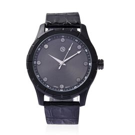 STRADA Japanese Movement Water Resistance Sporty Watch in Black Plating - Black