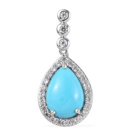 Arizona Sleeping Beauty Turquoise (Pear 14x10mm), Natural Cambodian Zircon Pendant in Platinum Overl