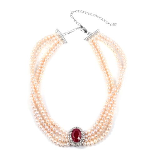 High End Inspired- African Ruby (Ovl 14x10 mm, 8.00 Ct), Fresh Water Pearl and Natural Cambodian White Zircon Chocker Necklace (Size 16.5) in Sterling Silver 227.070 Ct,