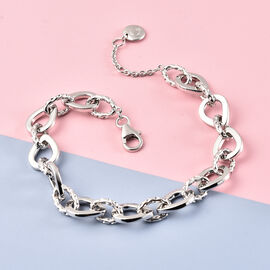 Rachel Galley Love Link Collection - Rhodium Overlay Sterling Silver Bracelet (Size 8), Silver wt 15.20 Gms