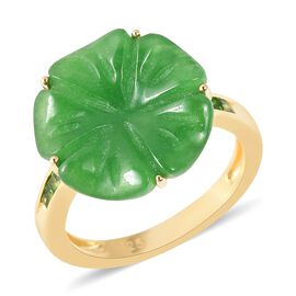 Carved Green Jade and Russian Diopside Flower Ring in Yellow Gold Overlay Sterling Silver 8.830 Ct.