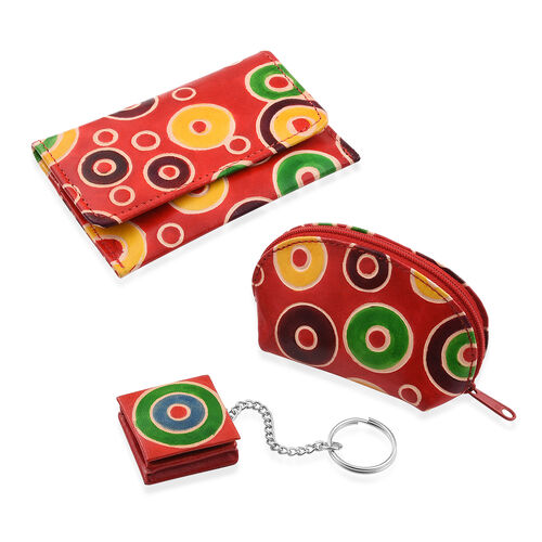 100% Genuine Leather Red and Multi Colour Circles Hand Painted Card Holder (12x8 Cm), Coin Pouch (10x4 Cm) and Keyring (4 Cm)