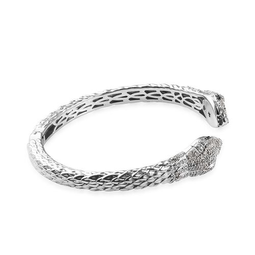 GP Blue and White Diamond (Rnd), Blue Sapphire Snake Head Design Cuff Bangle (Size 7.5) in Platinum Overlay Sterling Silver 1.27 Ct, Silver wt 35.00 Gms