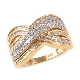 1 Carat Diamond Crossover Ring in 14K Gold Plated Sterling Silver
