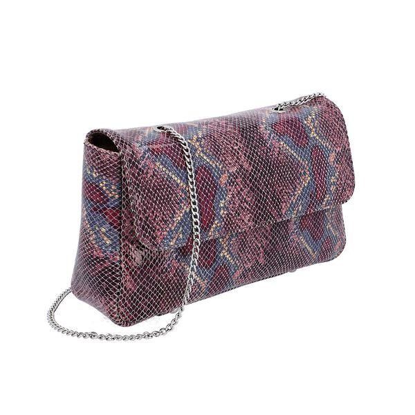 100% Genuine Leather Snake Print Crossbody Sling Bag (Size 26.5x7.5x17.5 Cm) - Purple