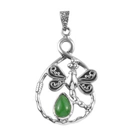 2.50 Ct Green Jade Butterfly Pendant in Silver 6.05 Grams