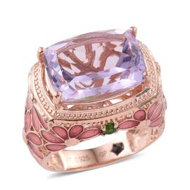 GP Rose De France Amethyst (Cush), Russian Diopside and Kanchanaburi Blue Sapphire Ring in Rose Gold Overlay Sterling Silver 8.430 Ct. Silver wt 8.50 Gms.