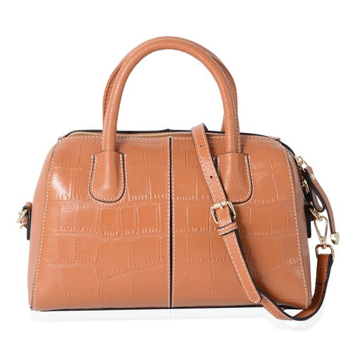 PREMIER COLLECTION 100% Genuine Leather Tan Colour Croc Embossed Tote Bag with Removable Shoulder St