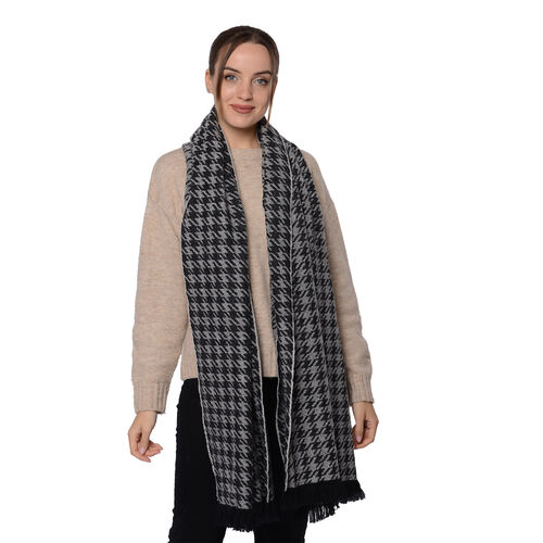 Close Out Deal LA MAREY Super Soft 100% Wool Shawl in Black Houndstooth Pattern with Tassels (200x69+5cm)