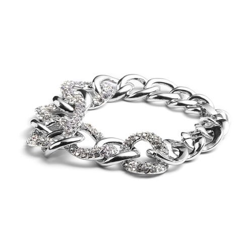 White Austrian Crystal Curb Bracelet (Size 7.5) in Silver Tone