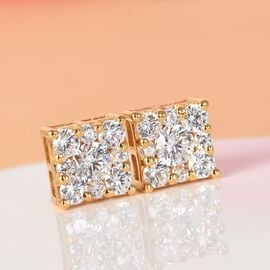 J Francis 14K Gold Overlay Sterling Silver Stud Earrings (with Push Back) Made with SWAROVSKI ZIRCONIA 3.35 Ct.