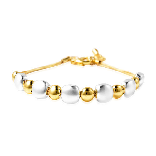 Ball Bracelet (Size 8 with 2 inch Extender) with Lobster Clasp in Dual Tone