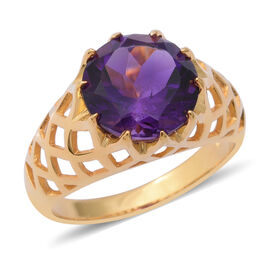 Zambian Amethyst (Rnd 12 mm) Ring in Yellow Gold Overlay Sterling Silver 5.65 Ct.
