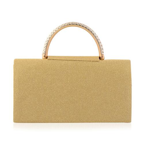 Gold Colour Envelope Clutch Bag with Detachable Chain Strap (Size 24x5x13 Cm)