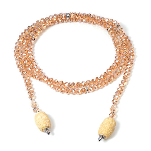 Champagne Shell Pearl, Simulated Champage Crystal and Multi Gemstone Necklace (Size 60)