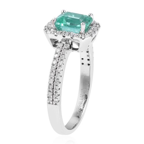 ILIANA 18K White Gold AAAA Boyaca Colombian Emerald (Oct), Diamond (SI/G-H) Ring 1.780 Ct.