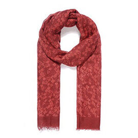 Brand New Scarves - Red Floral Print Scarf - 90X180 Cm - Red