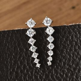 J Francis Platinum Overlay Sterling Silver Climber Earrings Made with Swarovski Zirconia