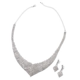 2 Piece Set White Crystal Necklace and Earrings in Silver Tone 16 with 5 inch Extender