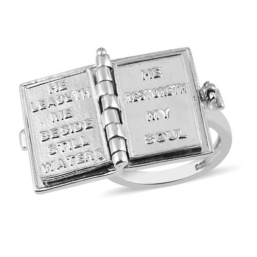 Platinum and Yellow Gold Overlay Sterling Silver Holy Bible Book Ring, Silver Wt. 8.50 Gms