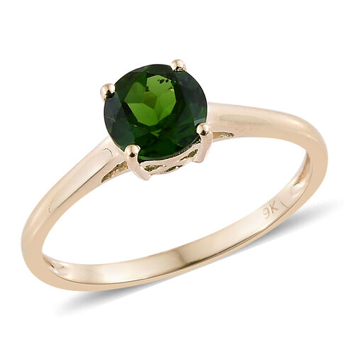 0.85 Carat AA Russian Diopside Solitaire Ring in 9K Yellow Gold