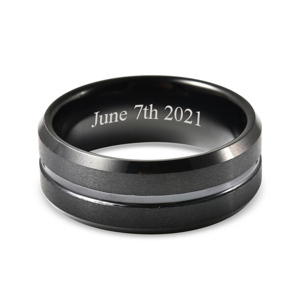 Personalised Engravable Dual Tone Natural Tungsten Secret Message Band Ring