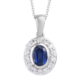 Himalayan Kyanite (Ovl), Natural Cambodian Zircon Pendant With Chain (Size 20) in Platinum Overlay S