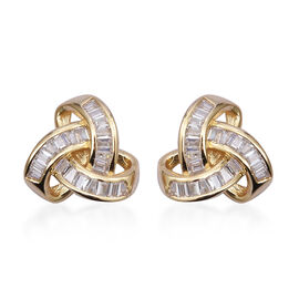ELANZA Simulated Diamond (Bgt) Knot Earrings (with Push Back) in Yellow Gold Overlay Sterling Silver