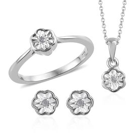 Set of 3 Diamond (Rnd) Ring, Earrings (with Push Back) and Pendant With Chain (Size 20) in Platinum Overlay Sterling Silver 0.050 Ct.