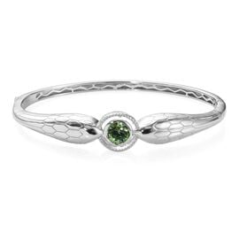 J Francis Peridot Colour Crystal from Swarovski Bangle in Platinum Plated 7.25 Inch