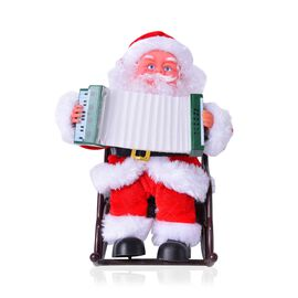 Xmas Decorations - Singing Electric Toy Santa Claus Playing Accordion (Size 22x19 Cm)