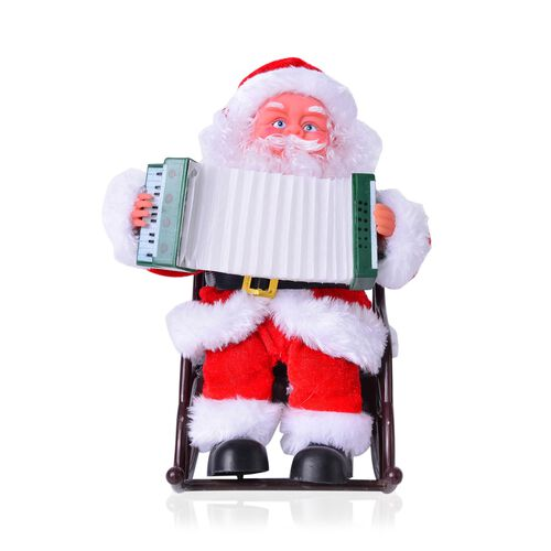 Singing Electric Toy Santa Claus Playing Accordion (Size 22x19 Cm)