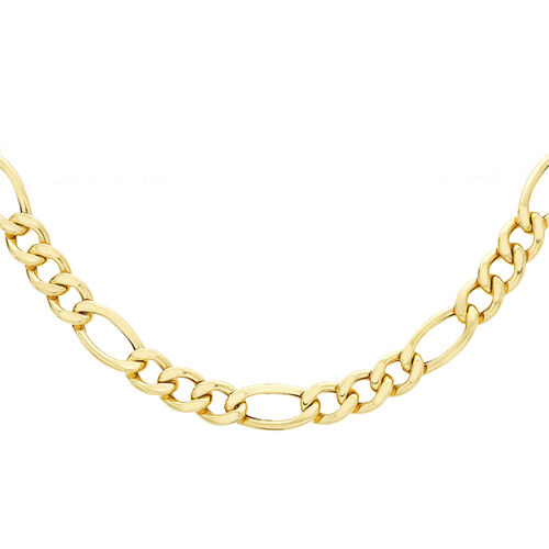 9K Yellow Gold Figaro Necklace (Size 20) with Lobster Clasp, Gold wt 15.00 Gms