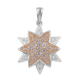 Natural Cambodian Zircon (Rnd) Star Pendant in Platinum and Yellow Gold Overlay Sterling Silver 0.75