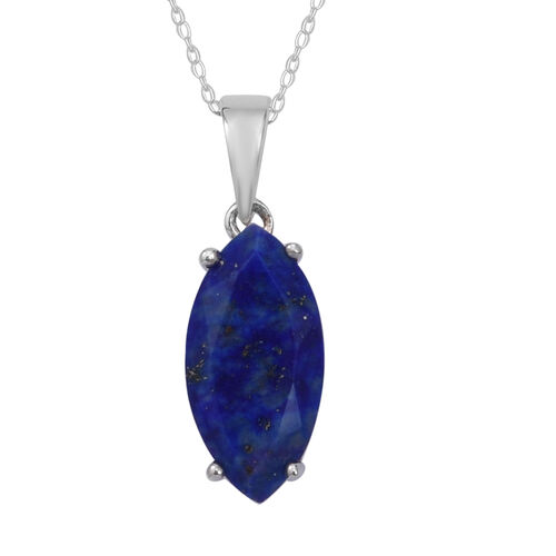 4.14 Ct Lapis Lazuli Drop Pendant with Chain in Sterling Silver