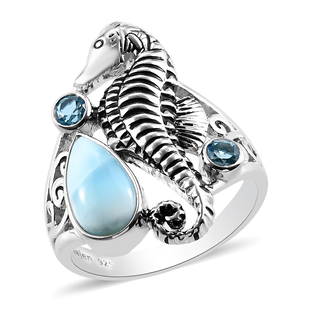 Sajen Silver NATURES JOY Collection- Larimar and Doublet Quartz Enamelled Seahorse Ring in Sterling