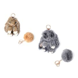 Set of 4 -  Faux Fur Easter Bunny and Pom Pom Keychain/Bag Charm - Colour Dark Grey and Brown