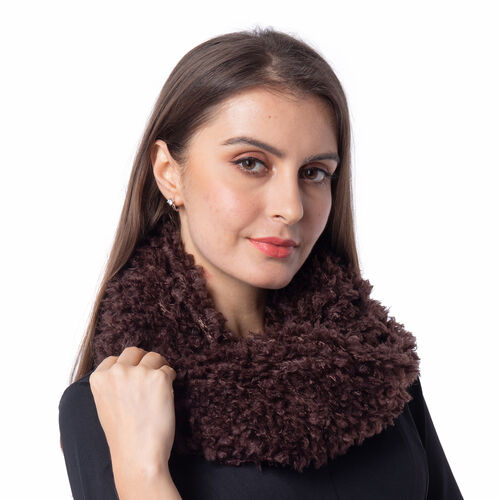 Soft and Fluffy Faux Fur Infinity Scarf - (Size:20x80cm) - Brown