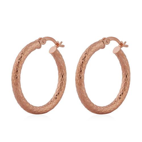 Rose Gold Overlay Sterling Silver Hoop Earrings