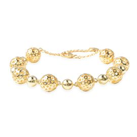 RACHEL GALLEY Yellow Gold Overlay Sterling Silver Globe Alternate Bead Bracelet (Size 7.5 to 8.5), S