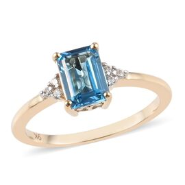 9K Yellow Gold AA Swiss Blue Topaz (Oct 7x5mm), Natural Cambodian Zircon Ring 1.30 Ct.