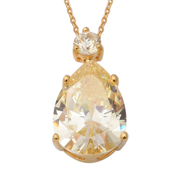 ELANZA Swiss Star Simulated Canary Diamond Drop Pendant With Chain in Yellow Gold Plated Silver