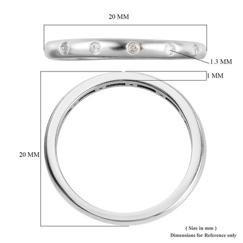 Diamond Stacker Band Ring in Platinum Overlay Sterling Silver 0.05 Ct.