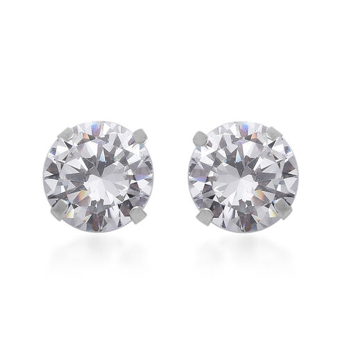 ELANZA Cubic Zirconia Solitaire Stud Earrings in Sterling Silver
