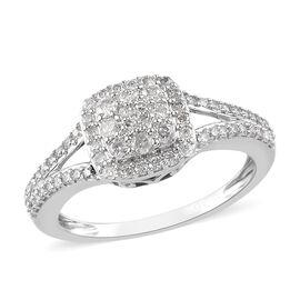 9K White Gold SGL Certifed Diamond (I3/G-H) Cluster Ring 0.50 Ct.