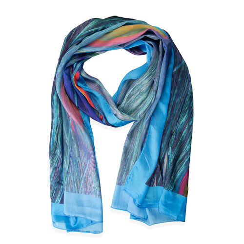 Designer Inspired- Blue, Pink and Multi Colour Peacock Feather Pattern Scarf (Size 175x70 Cm)